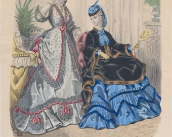 Antique Paris Ladies Fashion Plate (No 52. La Mode Illustree), Victorian Era Clothing, French, 1871, Giclee Print Reproduction