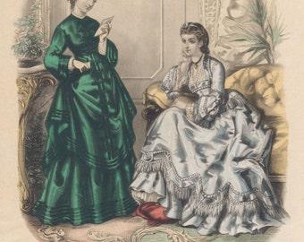 Antique Paris Ladies Fashion Plate (No 7. La Mode Illustree), Victorian Era Clothing, French, 1871, Giclee Print Reproduction,