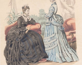 Antique Paris Ladies Fashion Plate (No 41. La Mode Illustree), Victorian Era Clothing, French, 1871, Giclee Print Reproduction