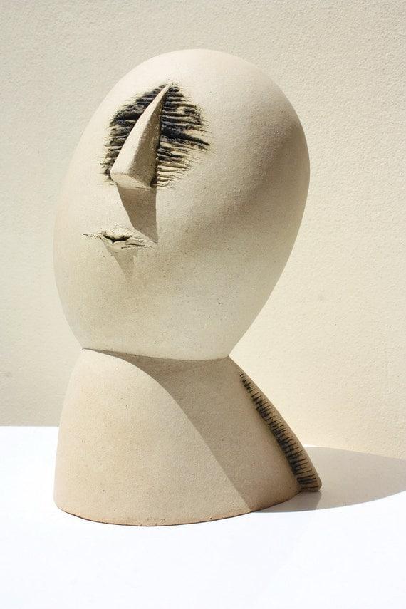Ceramic sculpture figurative art, human bust, by Elisaveta Sivas, 10' (27 cm) high, 6' (15 cm) wide