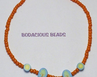 Handmade Girl's Beaded NECKLACE 13inch  ORANGE & TEAL Painted Beads  Perky and Sturdy