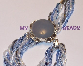 """Handmade 17""""  Blue CARNELIAN PENDANT NECKLACE with 5 Strand Seed Beads Silver Accents"""