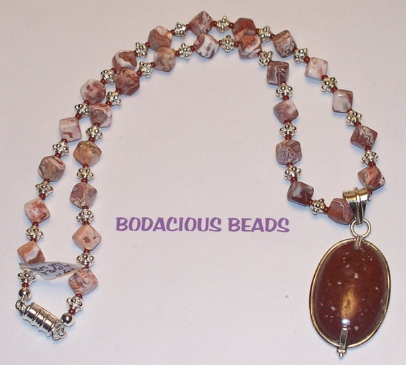"""Sporty Handmade 17""""  PENDANT NECKLACE  Apple Jasper Pendant and Beads silver accents Magnetic Closure"""