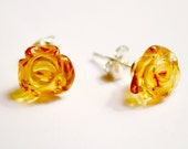 Baltic Amber Earrings - Sterling Silver - Handmade Rose Carved Honey Baltic Amber and Sterling Silver