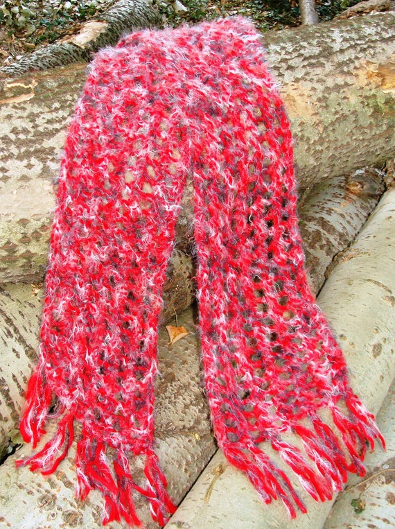 Red scarf. Exclusively soft and warm.