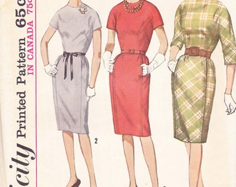 1960s Slim Sheath Vintage Dress Pattern, Simplicity 5142,  Front Panel, Pockets, Belt, Short or 3/4 Kimono Sleeves, Proportioned, Mad Men