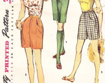 1956 Bermuda and Shorter Shorts and Sleeveless Square Neck Top Vintage Pattern, Simplicity 1606, Man Tailored Shorts, Fly Zipper and Pleats