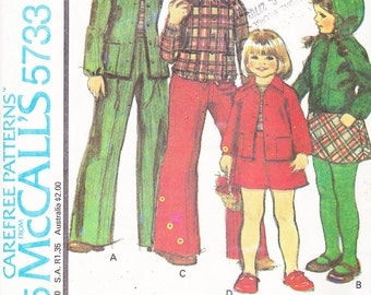1977 Girls Vintage Pattern, McCalls 5733, Jacket, Hoodie, Mini Skirt and Wide Leg Pants, Raglan Sleeves, Patch Pockets, Hooded Sweatshirt