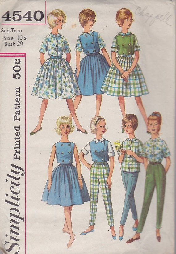1960s Mad Men Wardrobe, Tailored  Blouse, Double Breasted Waist Length Vest, Slim Pants, Full Skirt Vintage Pattern, Simplicity 4540 Small