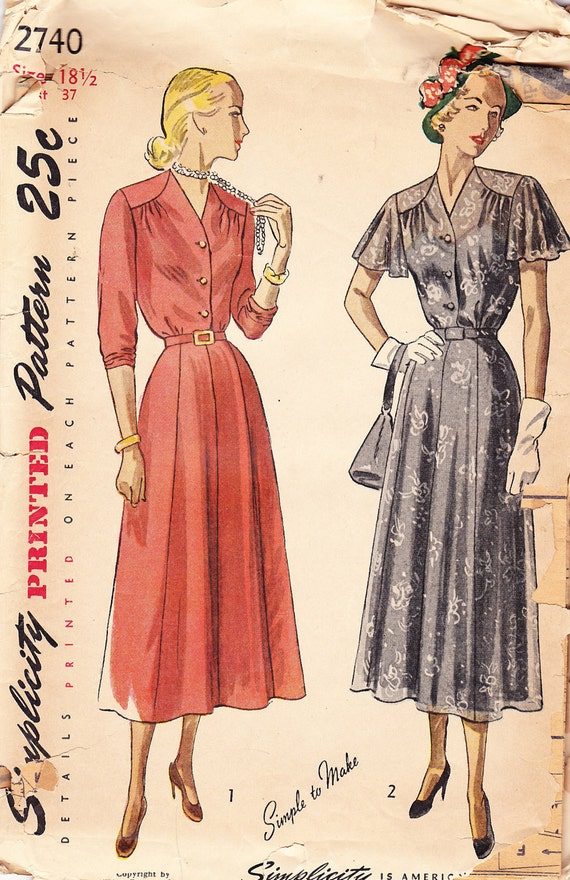 1949 New Look Vintage Pattern, Simplicity 2740, Dress with Gored Skirt, V Neck and 3/4 Length or Cape Sleeves, Half Size, Film Noir
