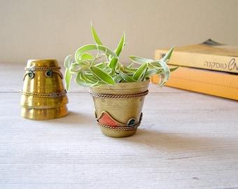 Vintage Metal Art Miniature Tumblers, Tiny brass measuring cups, Small decorative planter set of 3, Cottage shabby chic, Vanity desk decor
