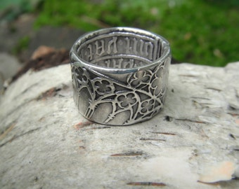 cathedral ring medieval ring renaissance wedding band artisan handcrafted with recycled fine silver - Medieval Wedding Rings