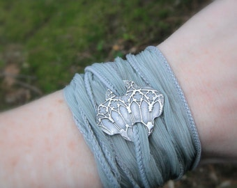 Cathedral Window Bracelet- Silver & Silk Wrap Bracelet- Artisan Crafted Recycled Fine Silver