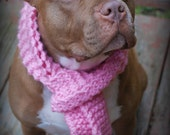 Dog Scarf Hand Knit Pink for Medium or Large Breeds