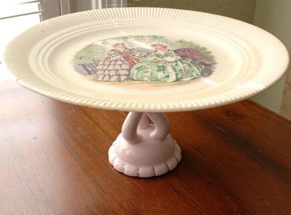 Vintage Cake Stand / Antique Victorian Pedestal / Vintage Shabby Chic Pink / Birthday Bridal Shower Bridesmaid Gift Vintage Wedding Gift