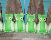 Primitive Handmade Lime Green Owl Ornament Set tof 6 Ornies Unique Decorations Perfect Year Round Made to Order OFG FAAP HAFAIR
