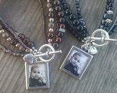 Photo Charm Bracelet, Black or Brown Beaded Photo Bracelet, Photo Jewelry, Keepsake,