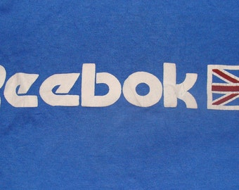 Vintage 80s Reebok Union Jack British Flag Blue T-shirt