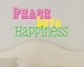 Peace Love Happiness Wall Decal - Teen Vinyl Wall Decal - Retro Wall Art - Girls Bedroom Decor