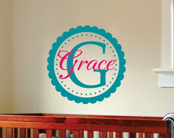Personalized Frame Wall Decal -   Name Wall Decal - Childrens Wall Art - Girls Name Decals - Nursery Decor