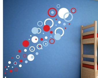 Playroom Wal Decal  -  Dots, Circles Rings Decal - Childrens Wall Decals - Childrens Art