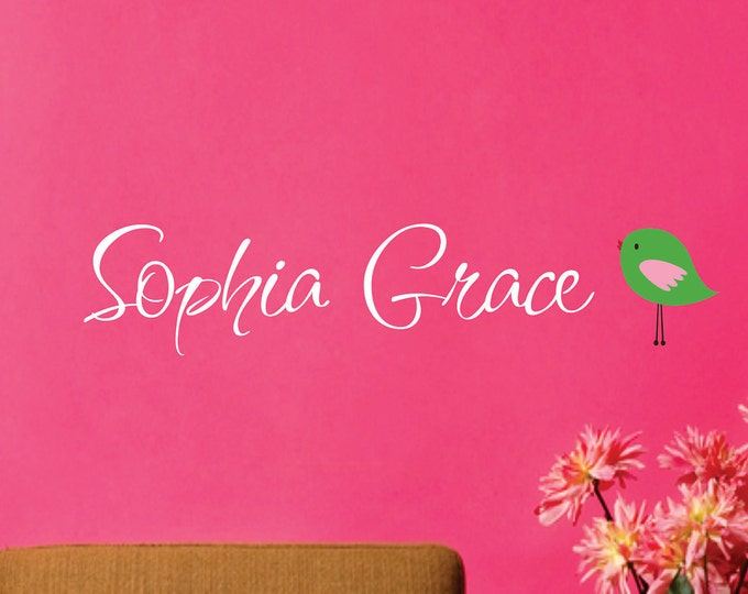 Wall Decal Personalized Name with Bird - Name Wall Decal - Childrens Wall Decal - Baby Nursery Decal