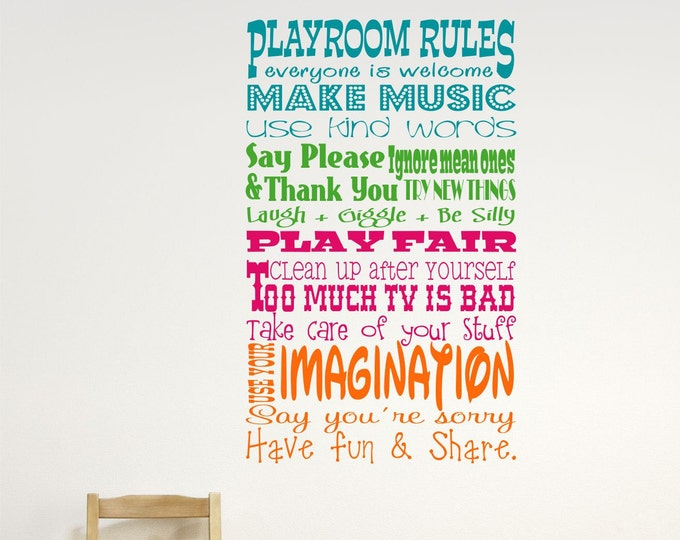 Childrens Wall Decor // Playroom Rules Wall Decal // Childrens Playroom Wall Decal // Childrens Wall Decal // Playroom Decor