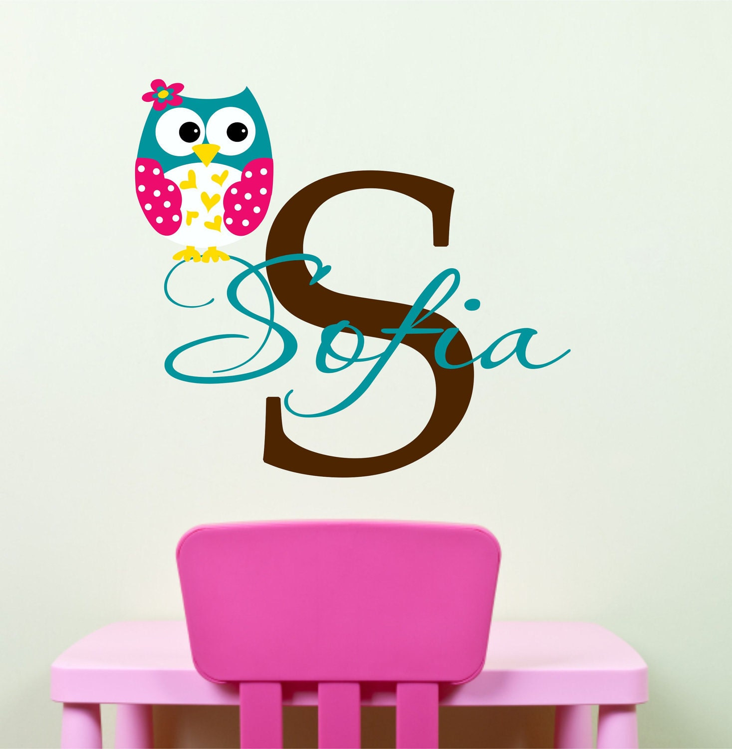 owl wall decals name wall decal childrens wall decals. Black Bedroom Furniture Sets. Home Design Ideas