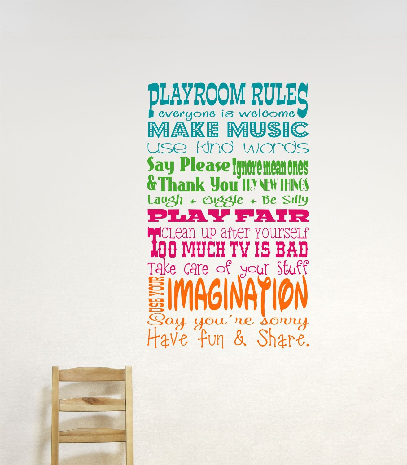 childrens wall decor playroom rules wall decal childrens. Black Bedroom Furniture Sets. Home Design Ideas