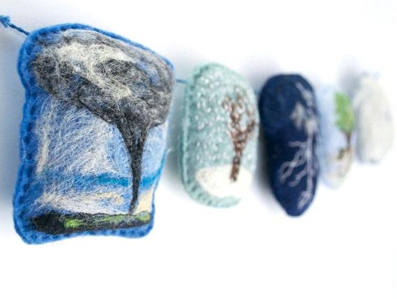Handmade Felt Garland - Stormy Weather - Wool Felt Embroidered 5-Storm Garland. Made to Order.