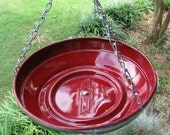 Hanging Bird Feeder made from a Classic CHEVROLET Hubcap CHERRY RED
