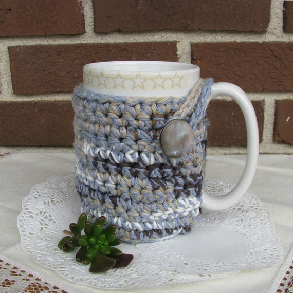 Coffee - Tea - Cocoa Cozy for your mug or cup  -  blue, grey, brown