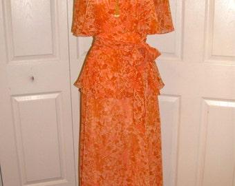 1970's Orange Print Maxi Dress with Sash - size Small