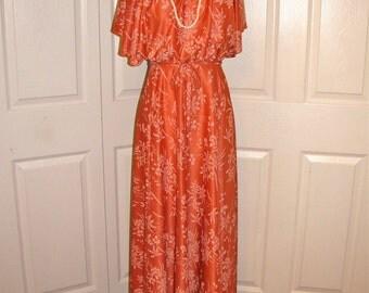 1970's Orange Print Disco Maxi Dress - Size Small