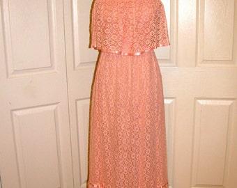1970's Pink Lace Maxi Dress - Size Small