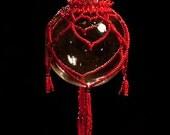 "Valentine ornament drape pattern Hearts of my Heart, red pattern Christmas bulb 2.5"""