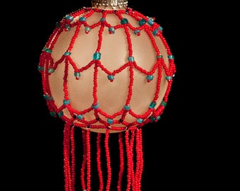 "Under the Big Top hand beaded Christmas ornament wrap 2.5"" bulb"