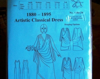 Victorian Dress Pattern: Artistic Classical / Grecian Dress Sewing Pattern for 1880 - 1895, 1880-29
