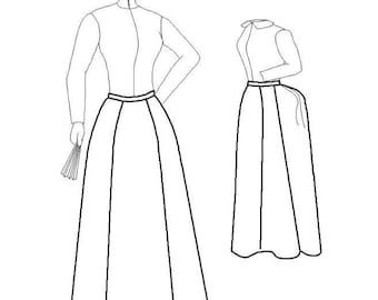 Victorian Skirt Pattern: Round or Foundation Skirt, Multi Size Sewing Pattern, 1880-11
