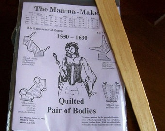 Elizabethan Corset Pattern with Hardwood Busk: Multi Sized Sewing Pattern, by the Mantua Maker. 1500-4b
