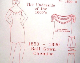 Victorian Sewing Pattern: Ball Gown Chemise Pattern - 1800-3