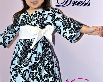 Anya Dress for Girls 12M-8Y PDF Pattern & Instruction- wrap style -sleeves option (multi length or sleeveless)-wide front sash