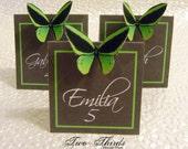 escort cards - place cards - 3D pop up paper butterfly - Neon green butterfly - green butterfly - table decorations - party decor