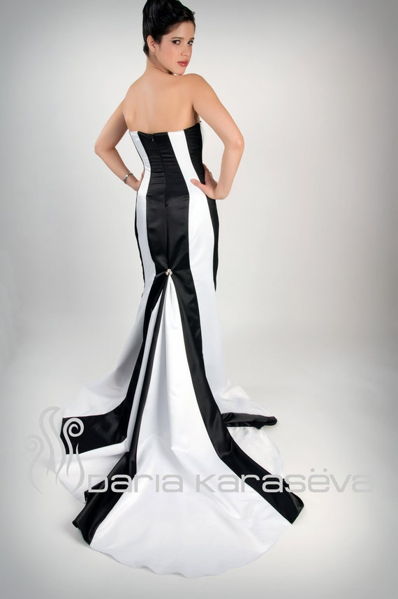 Black and White Gown Black and White Wedding Dress Black and White Bridesmaid Dress Colorblock Long Train Mermaid Gown
