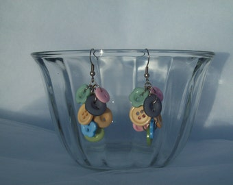 Pastel Button Cluster Earrings