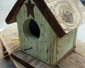 Rustic Green Reclaimed Wood Birdhouse