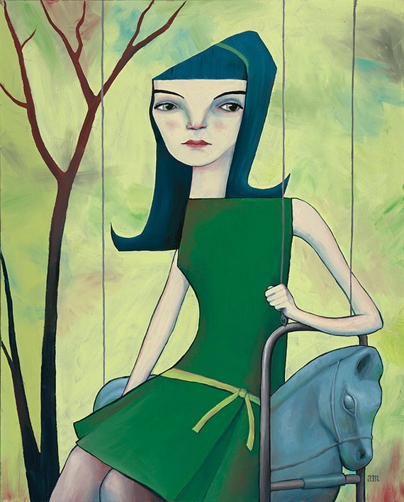 Girl on Swing - Giclee Art Print