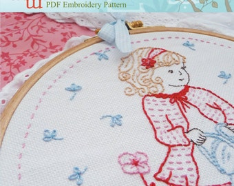 Embroidery Pattern, Needlecraft Design, Instant Download - Girl watering flowers
