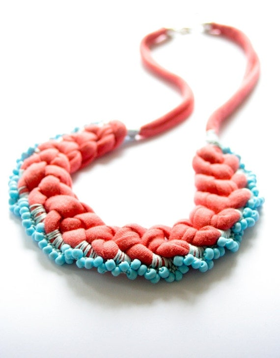 Coral Jersey Necklace With Turquoise Beads Crochet Jewelry Romantic Colorblocking Fabric Necklace