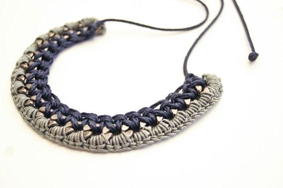 Small Bib, Dark Blue Necklace, Crochet Necklace, Braided Chain Necklace, Gunmetal Chain Grey Yarn Blue Cord
